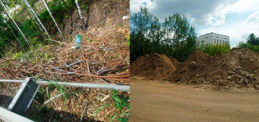 Рис.№1. Перекрытие почвы в результате замусоривание строительной арматуры навалом строительным песком –Яузский лесопарк.