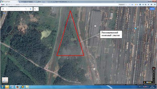 Рис.1. Месторасположение исследуемого земельного участка по данным спутникового снимка.
